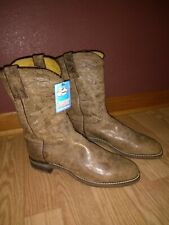 "**NEW** Justin Cowboy Boots Men's 9D Comb Last Leather 11"" tall"