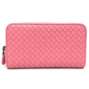 UNUSED BOTTEGA VENETA 275064 Intrecciato Zip Around Long Wallet Leather Pink
