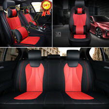 US STOCKS PU Leather 5-Seats Car Seat Cover Front+Rear Cushion +Pillow Universal