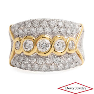 Estate 1.50ct Diamond 14K Gold Elegant Pave Cluster Wide Ring 11.8 Grams NR
