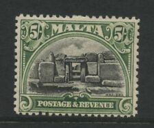 Malta 1930 Neolithic Temple Mnajdra 5/- Green & Black Stamp Mounted Mint