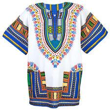 Cotton African Dashiki Mexican Poncho Hippie Boho Shirt Blouse White Ad12ws