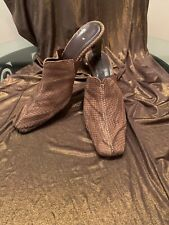 Meucci Vintage Brown Leather Mules Size 9.5 Narrow
