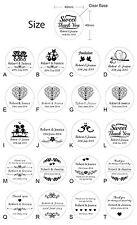 100 x Personalised Clear Wedding Bomboniere Envelope Sticker Seals Labels