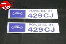 "Ford ""Powered By Ford 429CJ"" Valve Cover Decals Pair Aftermarket w/Ford License"