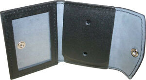 Black Leather ID Holder & Badge Case Law Enforcement Shield