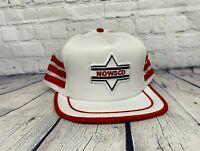 Vintage NOWSCO 3 Striped Trucker Hat Mesh Back Cap Patch Snapback White