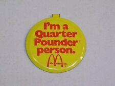 I'm a Quarter Pounder Person McDonald's Pin Vintage Metal Button Round Tab Back