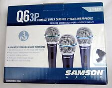 Samson Q6 3 Pack Microphones - New,  Free Shipping!