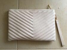 designer inspired clutch wristlet beige purse chevron bag new