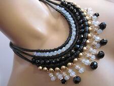 Damen Collier Hals Kette Modekette Leder kurz Schwarz Gold Statement Blogger
