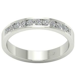Wedding Ring SI1 G 0.50 Ct Round Cut Diamond 14K Solid Gold Channel Set 3.70 MM