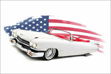 Cadillac Poster White Retro American Muscle Custom Car Lowrider Hot Rod Large.