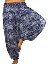 Sarouel Femme Pantalon Ethnique Aladin Harem Pant Aladdin yoga bleu blanc