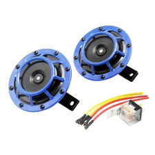 Pair 12V Blue Car Electric Horn KIT For Electric Car Motorcycles Truck