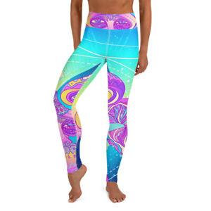 Magic Mushroom Yoga Pants shrooms leggings trippy yoga pants capri purple pink