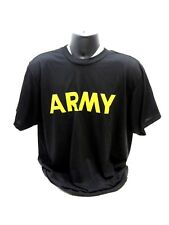 US ARMY ISSUE SHORT SLEEVE PT SHIRT ATHLETES T-SHIRT XSMAL BLACK/GOLD UNIFORM a0