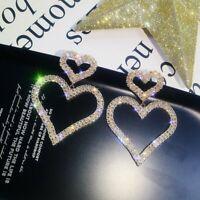 Fashion Luxury Double Heart Crystal Ear Stud Earrings Women Wedding Jewellery
