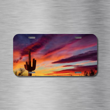 Desert Sunset Sky Vehicle License Plate Front Auto Tag NEW Arizona USA Cactus