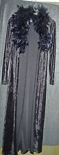 Vtg Long black crush velvet jacket gown with feathers glam costume