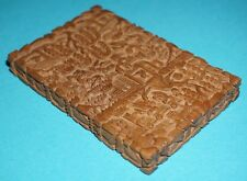 ANTIQUE CHINESE EXPORT SANDALWOOD CARD CASE FINELY CARVED FIGURES VILLAGE