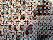 Vintage Cotton Fabric Quilt Single Piece MCM 1950 Dots Brown Blue Graphic NOS A