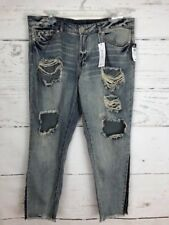 NWT Rue 21 Women's Sz 11/12 DESTROYED Mid Rise Ankle Jeans Retail $39.99 N56