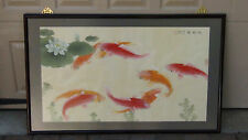 EARLY 20c CHINESE ORIGINAL WATERCOLOR&INK PAINTING OF KOI-FISH,SIGNED&SILED