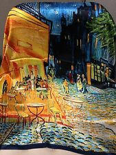"35""x 35"" Art Silk Scarf Van Gogh's ""Cafe Terrace at Night"" Best Christmas Gift !"