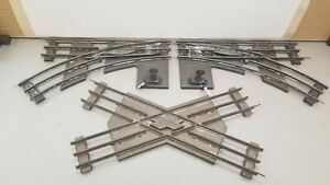 IVES STANDARD-Ga. SWITCHES & CROSSOVER TRACK SECTIONS x 3 PIECES; CURCA 1923