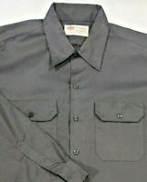Dickies Mens Long Sleeve Work Shirt Button Front Work Uniform Black XL