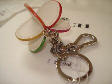 NEW Coach Heart Leather 3D Multi-Color KeyChain Ring  Charm Fob  F65427