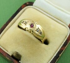 Ring - Hallmarked Chester / 1902 Antique Edwardian 18ct Yellow Gold Ruby Diamond