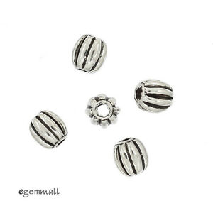 30 Bali Antique Sterling Silver Oval Pumpkin Spacer Beads 3.6x4mm #99311