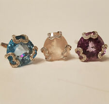Suite of Heart Silver Rings - Rose Quartz - Topaz - Amethyst