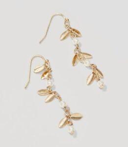 Ann Taylor Loft LOFT Pearlized Leaf Drop Earrings NWT $39.99