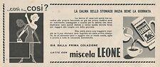 W1802 Latte con miscela Leone - Pubblicità 1958 - Vintage Advertising