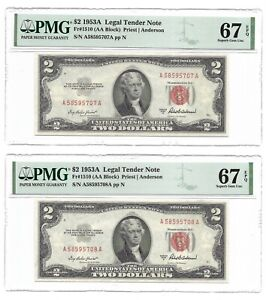 1953A $2 LEGAL TENDERS, US NOTES, 2 PMG SUPERB GEM UNCIRCULATED 67 EPQ BANKNOTES