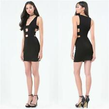 BEBE BLACK DOUBLE STRAP CUT OUT DRESS NEW NWT $119 SMALL S