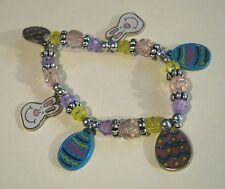 Bracelet elasticated brightly multicoloured beaded Easter themed charms bunny