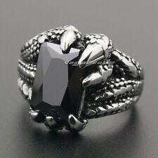 316L Stainless Steel Black CZ Stone Dragon Claw Mens Biker Punk Ring 6L002B