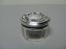 MINIATURE CUT CRYSTAL DRESSER / TOILETRIES JAR, WALLACE STERLING SILVER LID