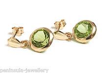 9ct Gold Peridot drop earrings Gift Boxed