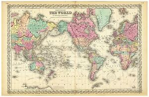 Vintage Old decorative World Map Colton 1856 paper or canvas
