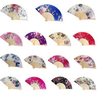 Vintage Bamboo Folding Hand Held Flower Fan Chinese Dance Party Pocket Gifts UK