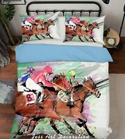 3D Horse Racing Quilt Duvet Cover Comforter Cover Single/Queen/King