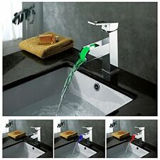 Chrome LED Waterfall Colors Changing Bathroom Basin Mixer Sink Faucet - HDD729