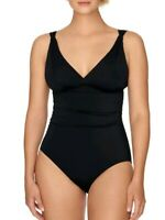 Time and Tru Women's Black Shirred One Piece Swimsuit Rich Black M (8-10)New