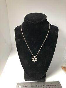 "Sterling Silver Jewish rhinestone star Of David necklace 16"""
