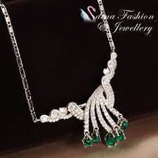 18K White Gold GF Made With Swarovski Crystal Luxury Emerald Statement Necklace